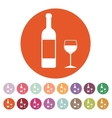 The bottle wine and a glass of drink icon vector image