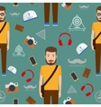 Man hipster flat style seamless pattern vector image