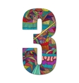 Number 3 with hand drawn abstract doodle pattern vector image