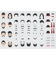 Different design elements of men face vector image