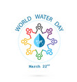 water drop and world map with people icon logo vector image