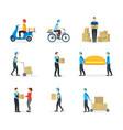 cartoon delivery workers set vector image
