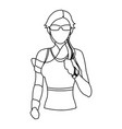 sport woman wearing sunglasses and earphones vector image