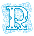 winter vintage letter R vector image