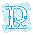 winter vintage letter R vector image vector image