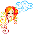 image of spring girl that thinks about winter vector image vector image