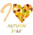 with leaves and message I love autumn sale vector image