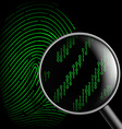 fingerprint and magnifying glass vector image