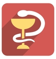 Snake Cup Flat Rounded Square Icon with Long vector image