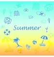 summer text with vacation icons vector image