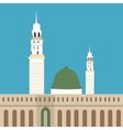 nabawi mosque madina islam worship dome minaret vector image