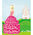 Beautiful young queen in front of her castle vector image