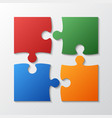 four color piece jigsaw puzzle four section vector image