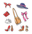 girls fashion accessories icons vector image