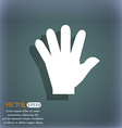 hand icon On the blue-green abstract background vector image