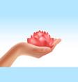 hand keeping flower vector image