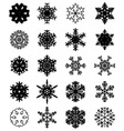 Set of black snowflakes vector image
