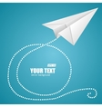 White paper plane on blue sky and text box vector image