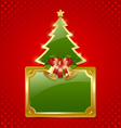 Christmas tree with bells and plaque vector image vector image