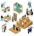 Education Isometric Student Icon Set vector image