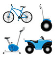 exercise bike and bicycle all-terrain vehicle vector image