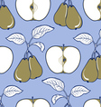apple and pear background pattern in blue and gree vector image