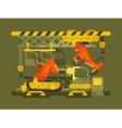 Automatic production using robotics vector image