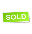 sold green square sticker on white background vector image