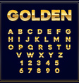 Alphabetic fonts Gold letter with numbers EPS10 vector image