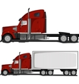 Red Truck with Trailer vector image
