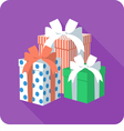 set colorful gift box with ribbon bow vector image