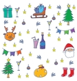 Color object christmas in doodle vector image