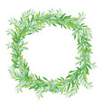 olive wreath isolated on white background green vector image
