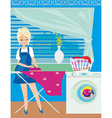 housewife ironing clothes at home vector image
