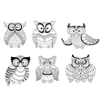Decorative colorless owls and cute owlets vector image