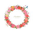 wreath of lovely roses and butterflies for your vector image vector image