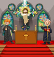 Two priests in the church vector image