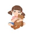 Girl Feeding A Teddy Bear vector image
