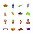 australia icons set cartoon vector image
