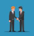 businessmen shaking hands together vector image