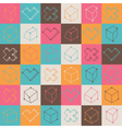 Checker pattern with geometric shapes vector image