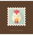 Chicken flat stamp Animal head vector image