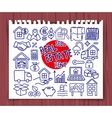 doodle real estate icons set vector image
