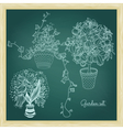 Garden set with 3 plants in flowerpot vector image