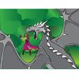 girl and a dragon vector image