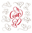 set of flourish calligraphy vintage love and vector image
