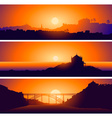 Sunsetting Over Landscapes Set vector image