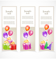 Banners with gift boxes and balloons vector image vector image