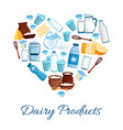 heart composed of milk and cheese products vector image vector image