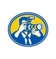 Photographer Shooting DSLR Camera Retro vector image vector image